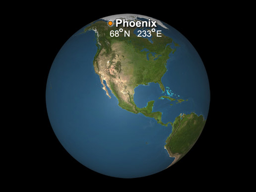 Phoenix landing site as it compares to Earth