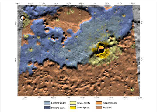 shaded relief map shows the topography and color-coded types of terrain in and around the targeted landing site for NASA's Mars Phoenix Lander