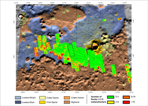 bright green indicates areas with few large rocks on this shaded relief map of the area in and around the targeted landing site for NASA's Mars Phoenix Lander
