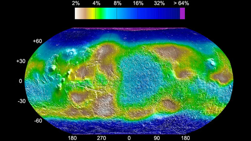 map shows the estimated lower limit of the water content of the upper meter of Martian soil