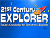 A colorful cartoon rocket blasts off from the words 21st Century Explorer