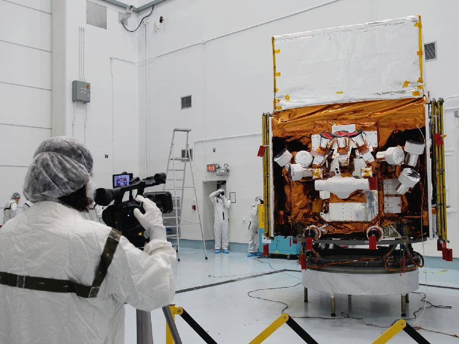 The spacecraft in the clean room facility.