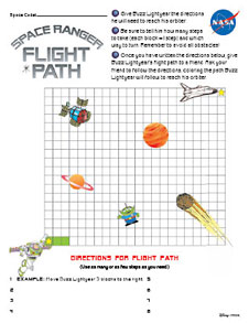 A page from the Buzz Lightyear Connect It!: Flight Path Activity