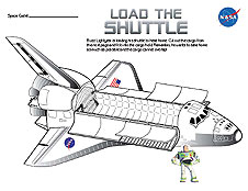 A page from the Buzz Lightyear Load the Shuttle Activity