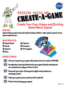 A page from the Buzz Lightyear Mission Matchup: Create a Game Activity