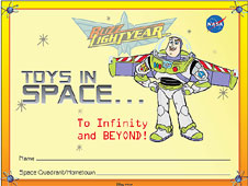 A page from the Buzz Lightyear Toys in Space Activity