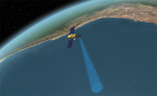 OSTM / Jason-2 spacecraft flying over Pacific west of South America