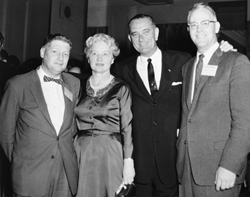 Developing NASA's foundation - Eilene Galloway, pictured with then-Senate majority leader Lyndon Johnson at a 1958 international symposium on space and atmospheric flight. Galloway helped to draft key elements of the 1958 Space Act.