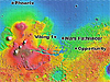 Map showing NASA landing sites on Mars