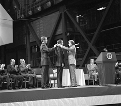 Honoring a space hero - Astronaut Neil Armstrong receives the first Congressional Space Medal of Honor from President Jimmy Carter, on Oct. 1, 1978, NASA's 20th anniversary. In the background are astronaut Frank Borman and Robert Frosch, NASA's fifth administrator.