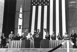 Marking Apollo - President George H.W. Bush speaks at the 20th anniversary celebration of the Apollo moon landing (July 20, 1989) while announcing his administration's space exploration goals. Behind the president are NASA Administrator Richard Truly, first lady Barbara Bush, Neil Armstrong, Vice President Dan Quayle and Michael Collins.