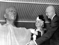 Five Star Tribute - President Dwight D. Eisenhower and Mrs. George C. Marshall unveil a bronze bust of Gen. George C. Marshall during the Marshall Space Flight Center's dedication ceremony in Huntsville, Ala. on Sept. 8, 1960.