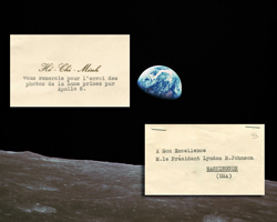 A moment on Earth - A thank you note (inset) North-Vietnamese President Ho Chi Minh sent to President Lyndon Johnson in appreciation of his sending the Apollo 8 Earthrise photo.