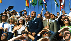 The pledge fulfilled - On July 16, 1969 Lady Bird Johnson, former President Lyndon B. Johnson, and Vice President Spiro Agnew view Apollo 11's liftoff from the space center named for the president who made the moon landing pledge.