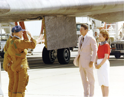 Presidential salute - Columbia (STS-4) astronauts Thomas K. Mattingly, foreground, and Henry W. Hartsfield salute President Ronald Reagan and first lady Nancy Reagan following their 4th of July (1982) landing at Edwards Air Force Base, Calif.