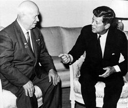 Cold War summit - During their Vienna summit (June 4, 1961), President John F. Kennedy discussed possible space cooperation with Soviet Premier Nikita Khrushchev. Photo credit: AP/Wide World Photo