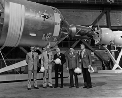 Pre-launch get-together - Crew members of the Apollo-Soyuz Test Project at the Kennedy Space Center. From left are astronauts Vance Brand and Thomas Stafford, cosmonauts Aleksei Leonov and Valeri Kubasov, and astronaut Deke Slayton.