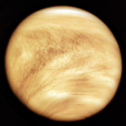 Ultraviolet view of Venus' cloudy face taken by NASA's Pioneer Venus Orbiter (Feb. 11, 1979). The United States and U.S.S.R. agreed to share results from both the Venera 13 and Pioneer missions.