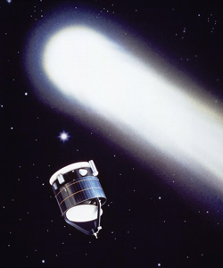 Artist's impression of the Giotto spacecraft approaching Halley's comet. The 1986 mission involved Soviet and European Space Agency spacecraft, with active involvement of NASA. Photo credit: European Space Agency