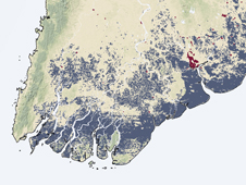 Image of Burma created with satellite data