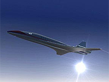 An artist's depiction of a futuristic aircraft
