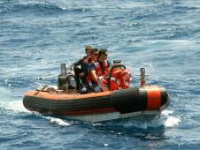 Rescue boat on Atlantic Ocean.