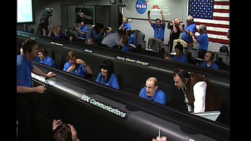 Phoenix team members celebrate the Phoenix landing on Mars, May 25, 2008.
