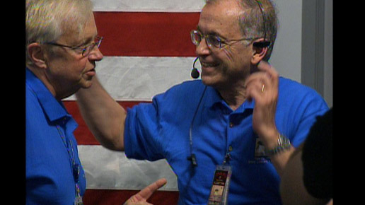 Ed Weiler, NASA associate administrator of the Science Mission Directorate, and JPL Director Charles Elachi celebrate the Phoenix landing on Mars, May 25, 2008.