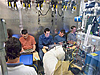 Volunteers relax inside the cramped test chamber