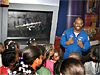 Astronaut Melvin speaks with students