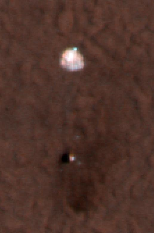 Color Image of Phoenix Parachute on Mars Surface