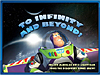 Buzz Lightyear and the words 'To Infinity and Beyond!'