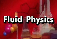 The words Fluid Physics overlaid upon science symbols and images