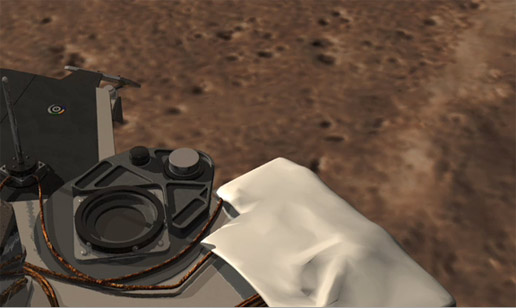 animation of a camera going through the Surface Stereo Imager (SSI) on the Phoenix lander