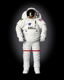 Full-length frontal view of the space shuttle Extravehicular Mobility Unit