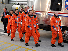 The crew of STS-124 suit up for a practice countdown.