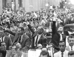 Triumphant return - Apollo 11 astronauts Michael Collins, Buzz Aldrin and Neil Armstrong, showered with ticker-tape in New York City's Canyon of Heroes (August 1969).