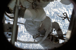 Saving Skylab - Astronaut Joseph Kerwin during his June 7, 1973, spacewalk with Pete Conrad to repair Skylab.