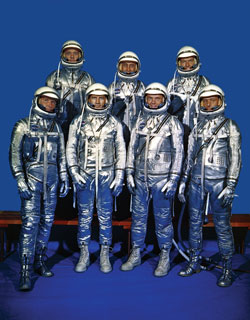 We Seven - The original seven Mercury astronauts during training at the Langley Research Center. From left to right, back row they are Alan Shepard, Gus Grissom and Gordon Cooper; front row, Wally Schirra, Deke Slayton, John Glenn and Scott Carpenter.