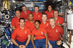 Multi-national, multi-cultural - As demonstrated by the STS-116 and Expedition 14 crews in December 2006, today's astronauts come from many nations and cultures. From the left (front row) are STS-116 crew members Bill Oefelein, Joan Higginbotham, Thomas Reiter (Germany). From the left (center row) are STS-116 crew members Mark Polansky, Robert Curbeam, Nicholas Patrick and Christer Fuglesang (Sweden). From the left (back row) are Expedition 14 crew members cosmonaut Mikhail Tyurin (Russia) and astronauts Michael Lopez-Alegria and Sunita Williams.