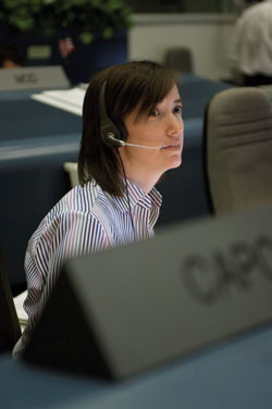 CAPCOM - The voice of mission control today belongs to astronaut K. Megan McArthur, during the two week flight of space shuttle Discovery (STS-116, Dec. 2006).