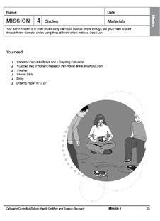 The first page of the Mission 4: Circles activity