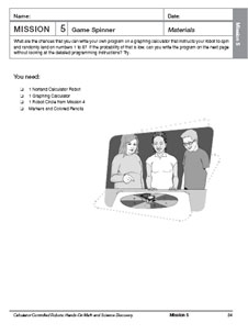 The first page of the Mission 5: Game Spinner activity