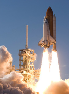 Liftoff of space shuttle Discovery on its STS-124 mission.