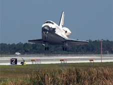Space shuttle Discovery lands at Kennedy Space Center.