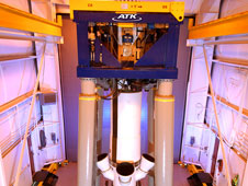 The vertical test platform for the full-scale abort motor allows the motor to be tested top side down with the nozzles pointing skyward.