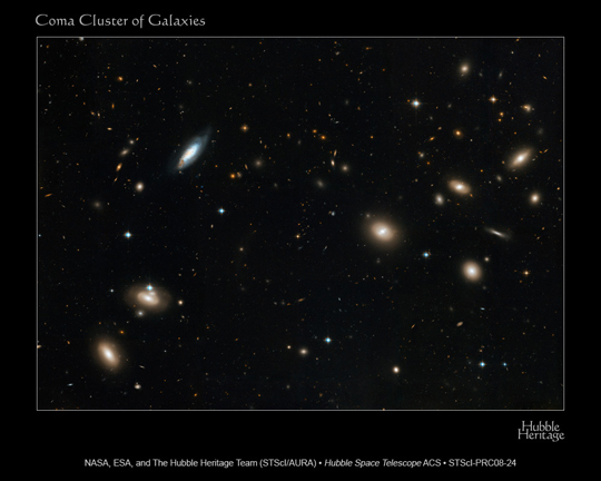 Hubble image of a galaxy cluster