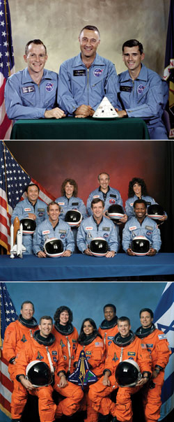 9. (caption for three photos – 9a, 9b, 9c) Lost heroes Members of the three astronaut crews whose sacrifice will always be honored by the men and women of NASA. Top, left to right: Apollo 1 crew members; Edward White, Gus Grissom, and Roger Chaffee. Center, left to right: The STS-51L Challenger crew members; Ellison Onizuka, Mike Smith, Christa McAuliffe, Dick Scobee, Greg Jarvis, Ron McNair and Judy Resnik. Above, left to right: Space shuttle Columbia (STS-107) crew members; David Brown, Rick Husband, Laurel Salton Clark, Kalpana Chawla, Michael Anderson, Willie McCool and Ilan Ramon.