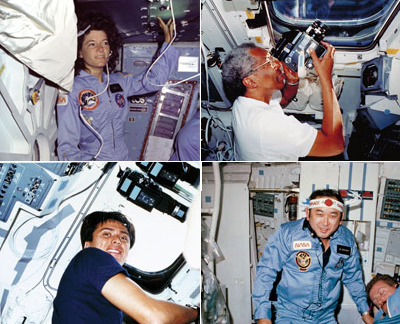 Trailblazers - In space shuttle missions during the 1980s (clockwise from top left) Sally Ride, Guy Bluford, Ellison Onizuka and Franklin Chang-Diaz became the first woman, African-American, Asian-American and Hispanic-American astronauts to fly in space.