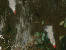 Satellite image of wildfires